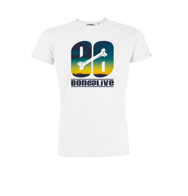 camiseta blanca logo Bonealiveshine-surf-skate