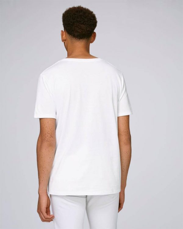 camiseta blanca bolsillo hombres