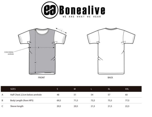 guia de tallas camiseta false denim panel