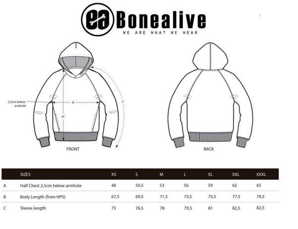 guia de tallas sudaderas con capucha | Bonealive